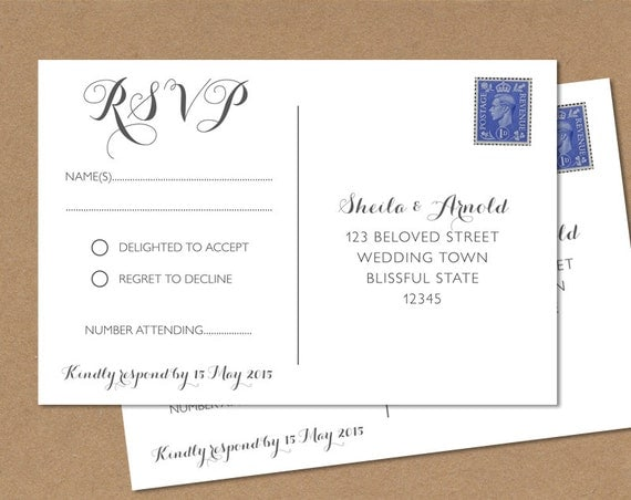 Postcard RSVP Card Wedding RSVP Postcard