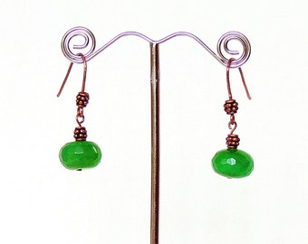 Green agate and copper earrings