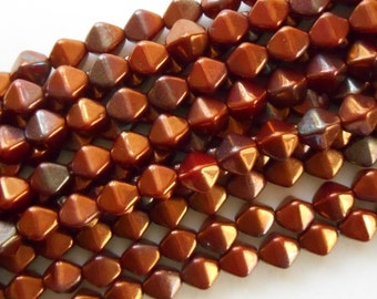 50 6mm Opaque Red Bronze bicone beads, pressed glass Czech metallic beads, C3850