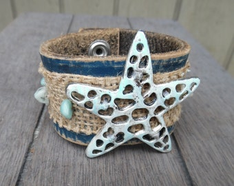 Women's Beach Nautical Sea Star Starfish Turquoise Gemstones Burlap Up-Cycled Leather Cuff Bracelet