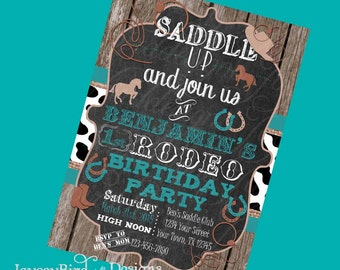 Personalized My First Rodeo Boys or Girls Cowboy Cowgirl Birthday Invitation