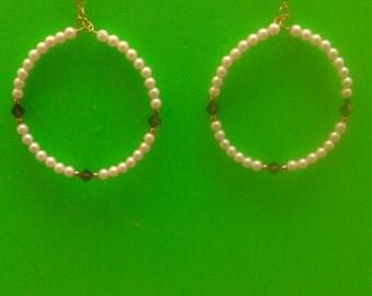 Handmade Small White Pearls with Purple Diamonds Earrings
