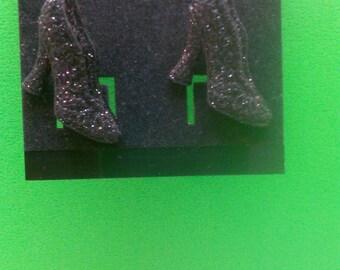 Handmade Black Glittery Stud Shoe Earrings
