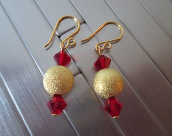 Stardust Gold and Red Earrings