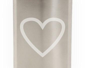 Loving Heart Etched Hip Flask 8oz