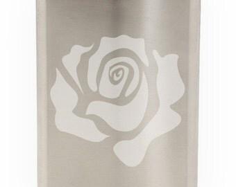 Lovely Rose Etched Hip Flask 8oz