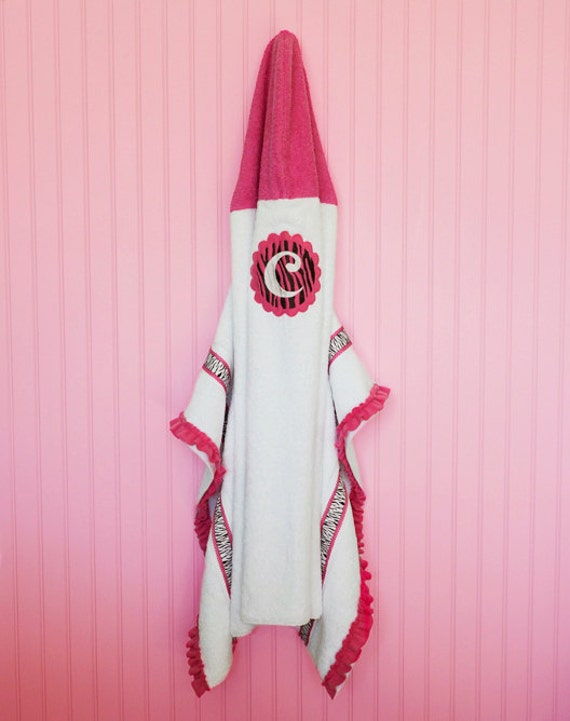 Hooded Bath Towel, Zebra Print, Initial Embroidered, Applique, Fleece, Embellished
