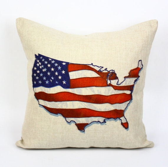 America map pillow cover, American flag pillow cover, Stars and Stripes cotton linen throw pillow cushion cover/home decor/houseware