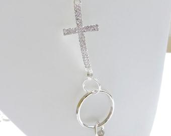 Bling Cross Badge Holder, Silver KeyChain Lanyard, Chain Id Badge Holder, Work Id Holder, Key Holder Lanyard, Photo Id Holder Bling
