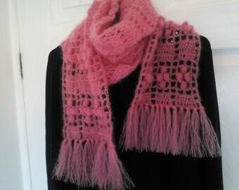 Free shipping, crochet scarf, neckwarmer, crochet mohair scarf, handmade scarf, pink neck warmer, flinge scarf, handmade neck warmer