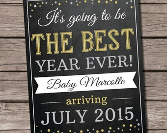 Christmas pregnancy announcement, New Year pregnancy announcement, pregnancy announcement chalkboard, holiday pregnancy announcement,