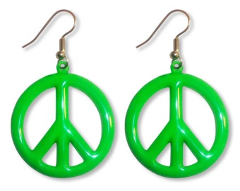 Neon Lime Green Peace Sign Earrings #835-G