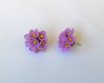 "Earrings ""Lilac"" - Clay flower earrings - Spring jewelry - Spring flower earrings"