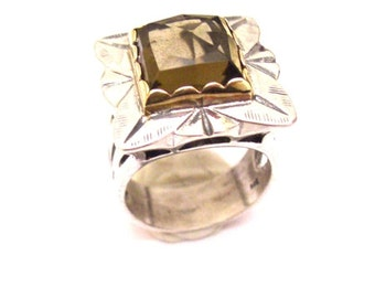 Sterling Silver 925 Ring with Smoky Quartz & Gold 9Ct