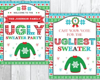 Ugly Sweater Christmas Party Welcome Sign & Vote Sign | Tacky Christmas Party