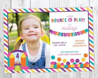 Bounce House Birthday Invitation - Jump Birthday - Girl Bounce Birthday - Bounce and Play!