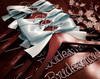 Set of 9--personalized hanger, custom-made hanger, bride hanger, wedding hanger, bridesmaids hanger.