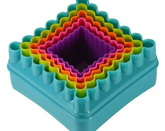 Multi Color Square Cookie Cutter Set