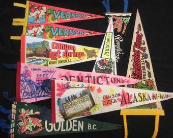 Vintage Felt Travel Pennants - British Columbia (BC), Penticton, Revelstoke, Dawson Creek, Golden, Vernon
