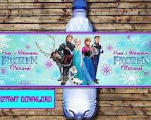 Disney Frozen Water Bottle Labels - Birthday Frozen Water Bottle Labels - Frozen Party-Disney Frozen Party Printable - INSTANT DOWNLOAD