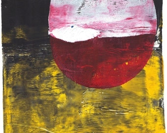 """white red oval print black yellow oval monoprint original print original art  oval monotype """"blood moon"""""""