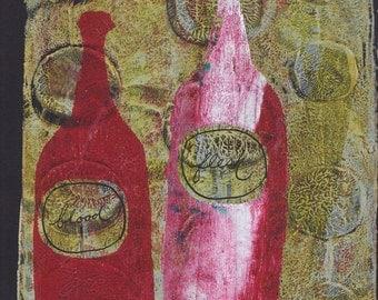 "red pink yellow bottles monoprint  original print original art ""family"""