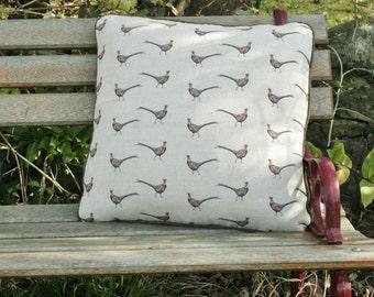 beautiful pheasant design cushion
