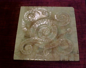 """American Encaustic Tile Co. Fireplace Art Tile Turn of the Century 5 7/8"""" x 5 7/8"""""""