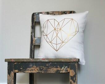 Gold Heart Pillow, Geometric Love Heart Cushion, Girls Gold Bedroom Decor, Metallic Throw Pillow, Gold Nursery Pillow, Valentine Pillow
