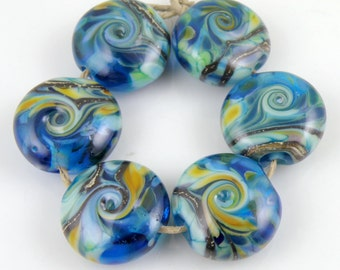 Adventures Aquatic SRA Lampwork Handmade Artisan Glass Lentil Beads 18mm Made to Order Set of 6