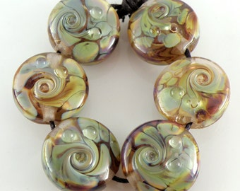 Topaz Raku SRA Lampwork Handmade Artisan Glass Lentil Beads 18mm Made to Order Set of 6