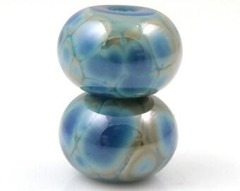 Denim Blues Earring Pair SRA Lampwork Handmade Artisan Glass Donut/Round Beads Made to Order Pair of 2 8x12mm
