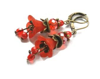 Pretty Deep Red Lucite Flower Earrings, Beaded jewelry Red lucite flower earrings Dangle earrings Lucite flower jewelry Dark red earrings