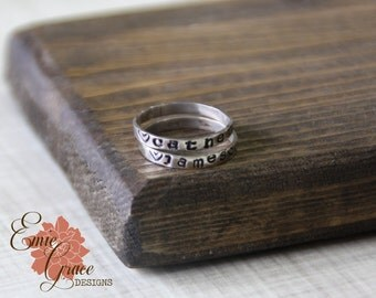 Stamped Stacking Ring, Sterling Silver, Mom's Ring, Personalized Band, Message Ring