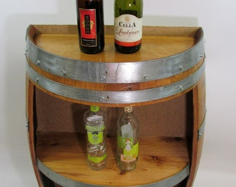 "Split Barrel Shelf, handcrafted with reclaimed wine barrel, 36""h x 26""w x 13""d, WBC-36"