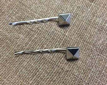 Hair Clip- Silver Or Black Bobby pin- Studs