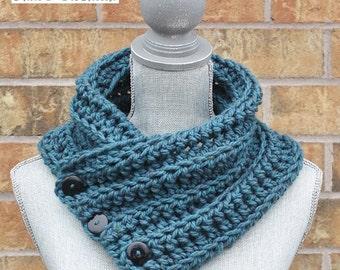 The 'Wanda' Cowl, Chunky Crochet Winter cowl, Teal