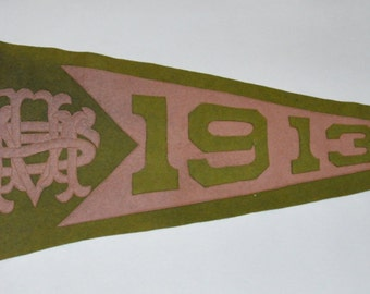 Genuine Vintage Original 1913 Sewn Felt Pennant for ? It's a Mystery. SMU? USM? UMS?