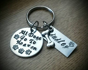 All Dogs Go To Heaven Personalized with pet's name * Hand Stamped Keychain * Paw Prints* Dog bone charm
