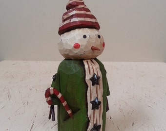 Super Cute Snowman Primitive Folk Art Woodcarving