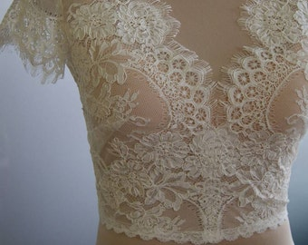 Wedding bolero, top, jacket of lace,alencon, sleeves, . Unique, Exclusive Romantic bridal bolero EDNA