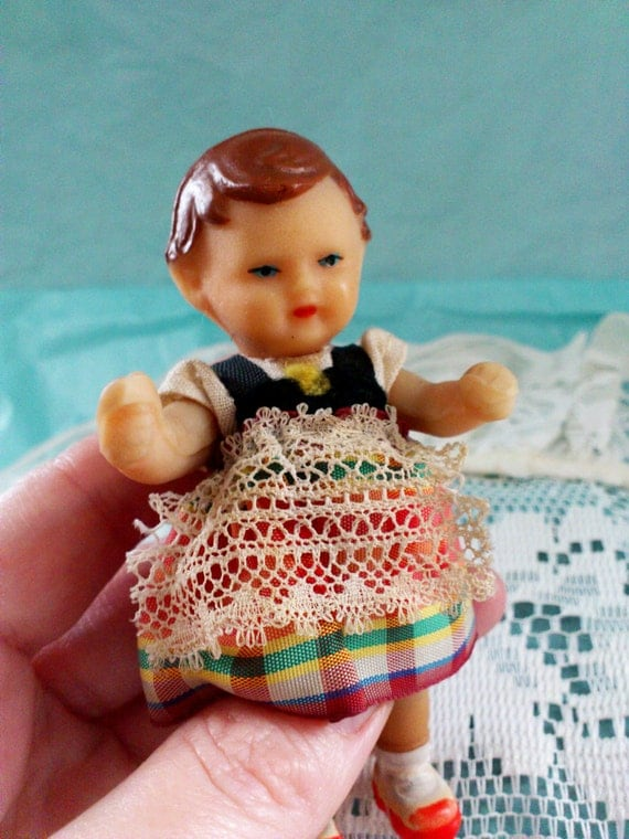 Vintage Germany Small Rubber Doll Ari Original Clothes