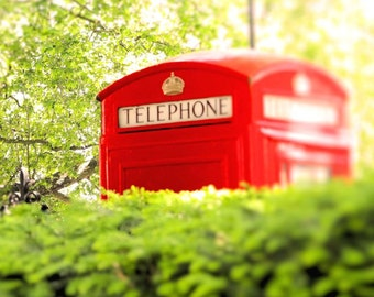 London Phone Booth, London Photography, Red and Green, Wall Art, Phone Box, England Picture, British Decor, Travel Photo, 8 x 10 Print