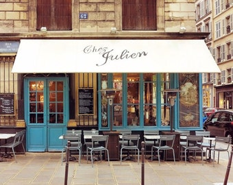 Paris Cafe Print, Paris Photography, French Bistro, Wall Art, Light Blue, Wall Decor, France Photo, 8 x 10 Print, 11 x 14 Print