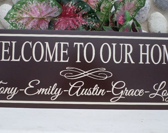 Welcome Sign Wood Personalized Front Door Welcome Sign Welcome