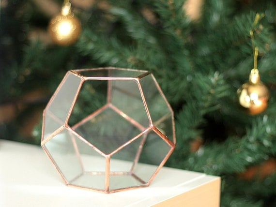Little Geometric Terrarium / Dodecahedron / Handmade Glass Planter / Modern Planter for Indoor Gardening / Stained Glass Terrarium