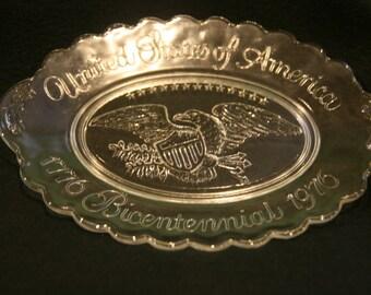 Bicentennial glass eagle dish
