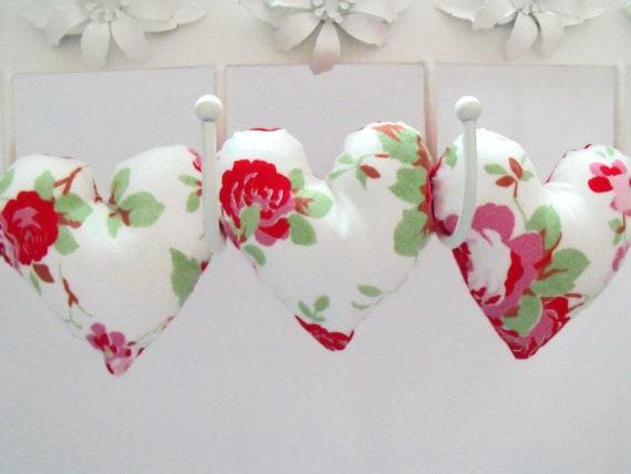 Decorative Wall Hanging Hearts : Decorative fabric hanging heart garland floral print