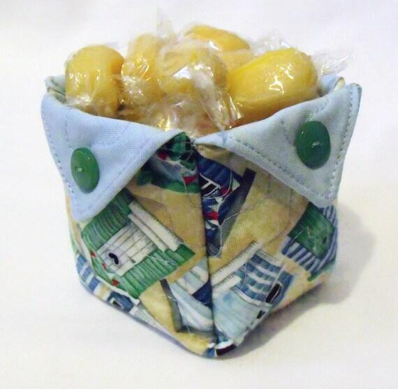 quilted storage basket, fabric box, origami basket, folded fabric storage, bathroom tidy, beach hut print
