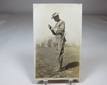 Vintage Military Uniform WWI Real Photo Postcard Soldier With Sword Paper Ephemera RPPC Vintage Army Uniform Free Shipping